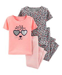 4-Piece Leopard Snug Fit Cotton PJs