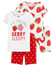 Carter's 4-Piece Strawberry Snug Fit Cotton PJs - White Red