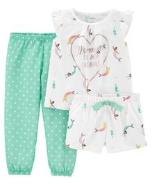Carter's 3-Piece Mermaid Poly PJs - Green White