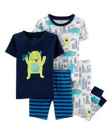 4-Piece Monster Snug Fit Cotton PJs - Blue