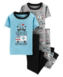 Carter's 4 Piece Rescue Vehicles Snug Fit Cotton PJs - Blue Grey