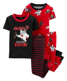 Carter's 4-Piece Ninja Snug Fit Cotton PJs - Black Red