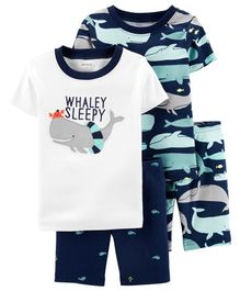 Carter's 4-Piece Whale Snug Fit Cotton PJs - White Navy Blue