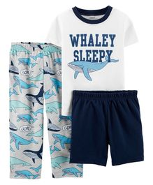 Carter's 3-Piece Whale Poly PJs - White Grey Navy Blue