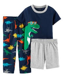 Carter's 3-Piece Dinosaur Poly PJs - Navy Blue Grey
