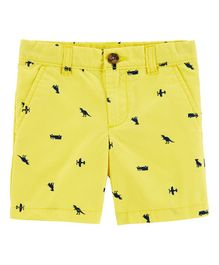 Carter's Schiffli Flat-Front Canvas Shorts - Yellow