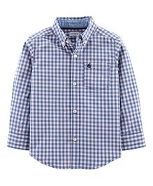 Carter's Gingham Poplin Button-Front Shirt - Teal Blue
