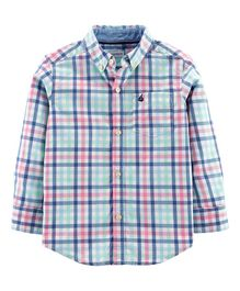 Carter's Plaid Poplin Button-Front Shirt - blue