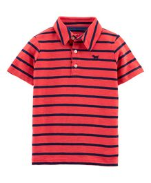 Carter's Striped Dog Slub Jersey Polo - Red