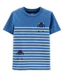 Carter's Striped Monster Slub Jersey Tee - Blue