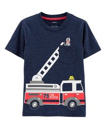Carter's Firetruck Snow Yarn Tee - Navy Blue