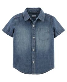 Carter's Schiffli Chambray Button-Front Shirt - Blue