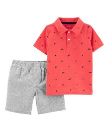 Carter's 2-Piece Snow Yarn Polo & Striped Short Set - Red Grey