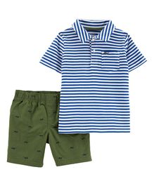 Carter's 2-Piece Striped Polo & Poplin Short Set - Blue Green