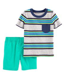 Carter's 2-Piece Striped Polo & Poplin Short Set - Grey Green