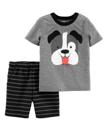 Carter's 2-Piece Dog Jersey Tee & Striped Short Set - Grey Black