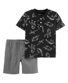 Carter's 2-Piece Dinosaur Slub Jersey Henley & Canvas Short Set - Black
