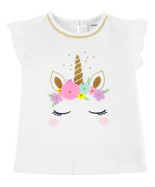 Carter's Unicorn Tulle-Sleeve Top - White