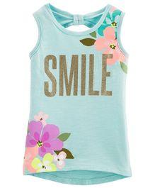 386343f05dc414 Carter s Glitter Floral Hi-Lo Slub Tank - Mint