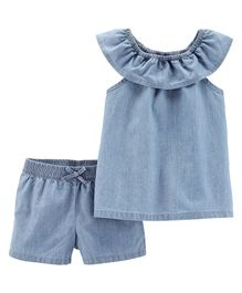 Carter's 2-Piece Scoop Neck Chambray Top & Short Set - Blue