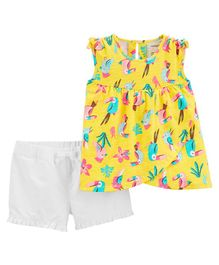 Carter's 2-Piece Tropical Toucan Tank & Twill Short Set - Yellow White
