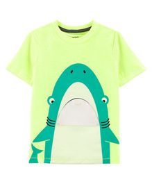 Carter's Neon Shark Peek-A-Boo Flap Snow Yarn Tee - Green