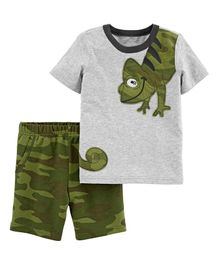Carter's 2-Piece Chameleon Jersey Tee & Camo Short Set - Grey