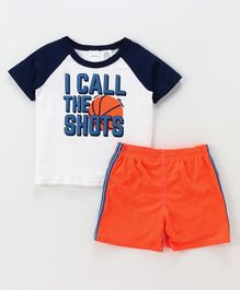 Carter's 2-Piece Basketball Jersey Tee & Mesh Short Set - Blue Orange