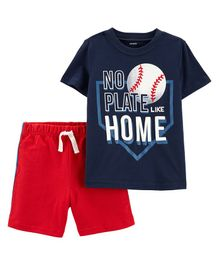 Carter's 2-Piece Baseball Tee & French Terry Short Set - Navy Blue Red