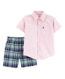 Carter's 2-Piece Oxford Button-Front & Plaid Short Set - Pink Blue