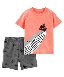 Carter's 2-Piece Whale Slub Jersey Tee & French Terry Short Set - Peach Grey