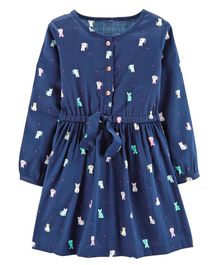 Carter's Cat Sateen Dress - Dark Blue