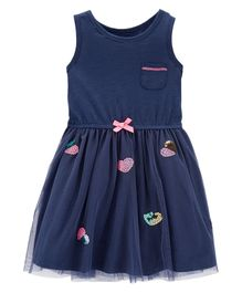 Carter's Heart Tulle Dress - Navy Blue