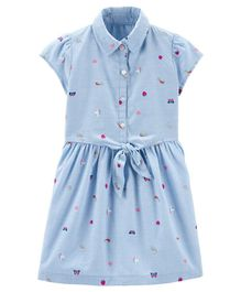 Carter's Emoji Tie Front Shirt Dress - Blue