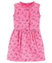 Carter's Dinosaur Sateen Dress - Pink