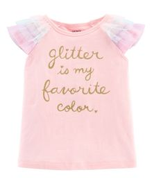 Carter's Glitter Tulle-Sleeve Top - Light Pink