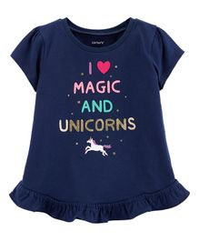 Carter's Glitter Unicorn Peplum Top - Navy Blue