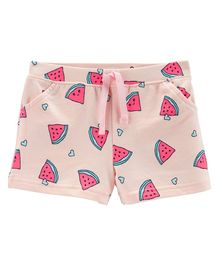 Carter's Watermelon Pull-On French Terry Shorts - Pink