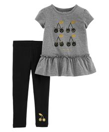 Carter's 2-Piece Cherry Peplum Top & Legging Set - Grey