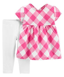 Carter's 2-Piece Gingham Top & Capri Legging Set - Pink White