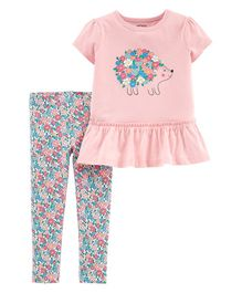Carter's 2-Piece Hedgehog Peplum Top & Floral Legging Set - Pink