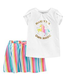 Carter's 2-Piece Unicorn Top & Rainbow Skort Set - White Multicolour