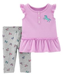 Carter's 2-Piece Unicorn Tank & Capri Legging Set - Lavender Grey
