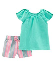 Carter's 2-Piece Split Shoulder Top & Striped Linen Short Set - Sea Green