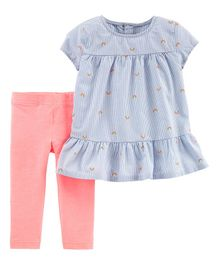 Carter's 2-Piece Rainbow Peplum Top & Legging Set - Light Blue Pink