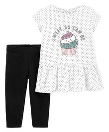 Carter's 2-Piece Cupcake Peplum Top & Legging Set - White