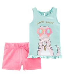 Carter's 2-Piece Dinosaur Slub Tank & French Terry Short Set - Blue Pink