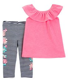 Carter's 2-Piece Flutter Scoop Neck Top & Striped Capri Legging Set - Pink