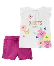 Carter's 2-Piece Daddy's Girl Floral Top & Ruffle Short Set - White Magenta