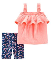 Carter's 2-Piece Neon Tank & Floral Tumbling Short Set - Peach Blue